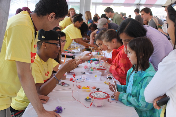 Youth teachers teach Squishy Circuits at the Boston's Book Festival