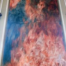 Diego de Landa burning Maya cult images and codices. Mural by Fernando Castro Pacheco, from Wikipedia